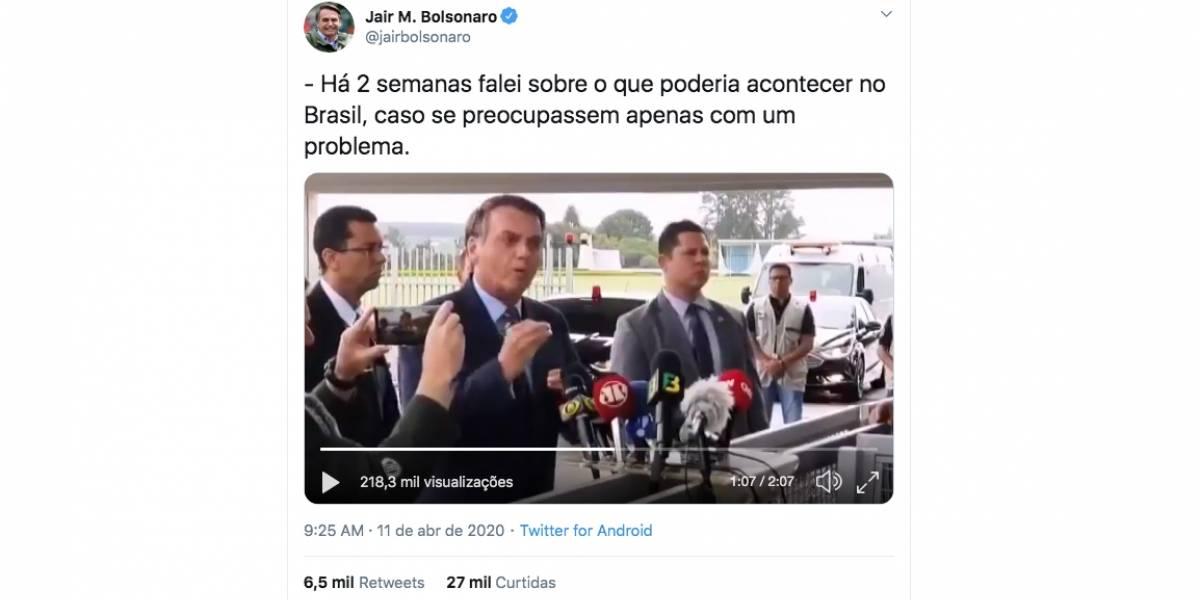 No Twitter, Bolsonaro compartilha vídeo criticando isolamento social