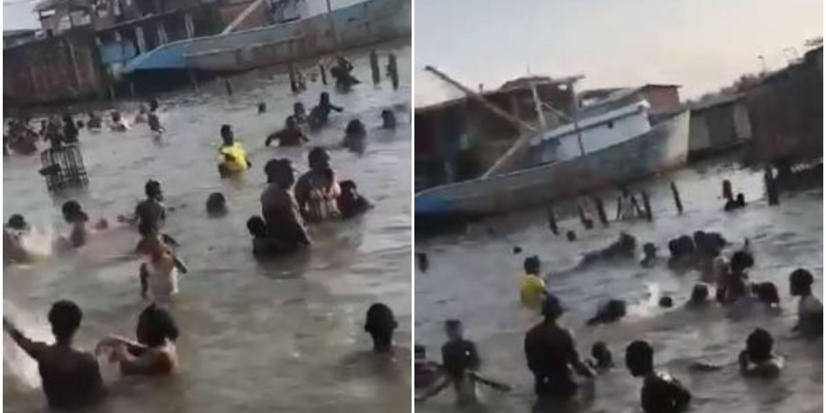 (VIDEO) Creyeron que el agua de mar curaba el coronavirus y ciudadanos violaron la cuarentena