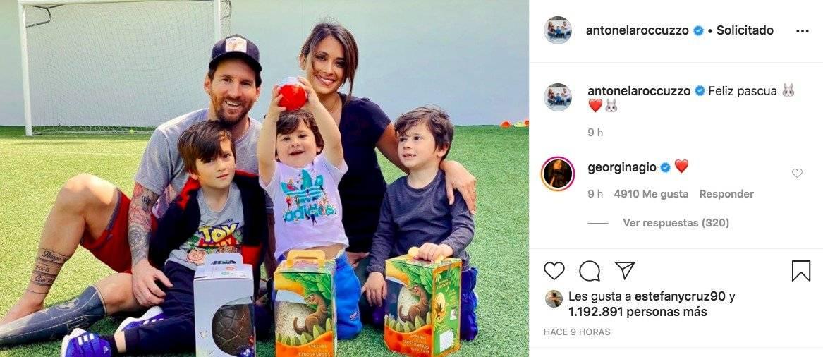 Antonela Roccuzzo publica foto familiar y Georgina Rodríguez le responde