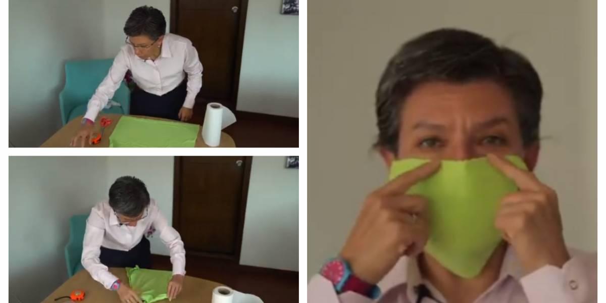 (VIDEO) Claudia López enseña a hacer tapabocas caseros