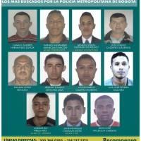 Policía revela el cartel de los más buscados en Bogotá