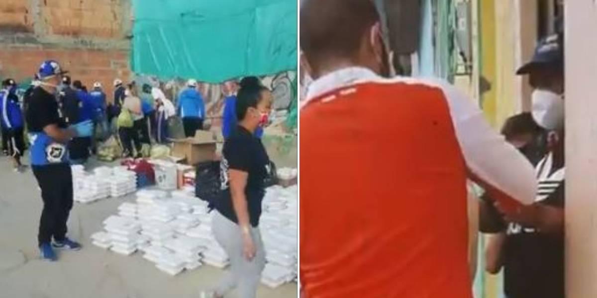 ¡Qué gran ejemplo! Barristas de Millonarios y Santa Fe repartieron mercados a familias necesitadas en Bogotá
