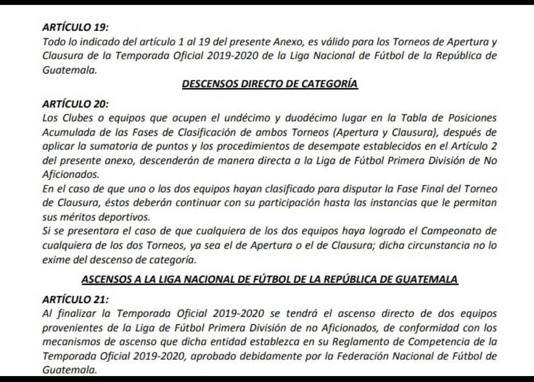 Artículo 20 y 21 reglamento de competencia de la Liga Nacional