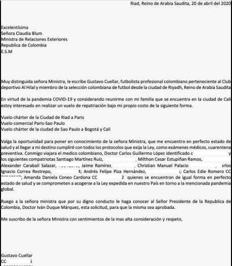 Carta Gustavo Cuéllar cancillería
