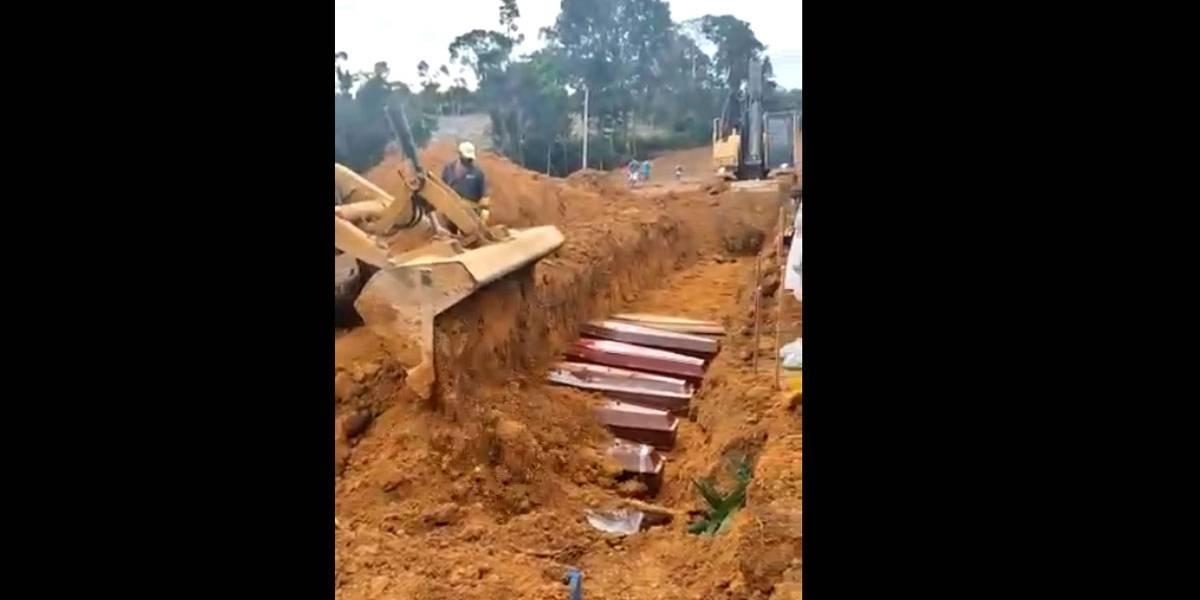 Vídeo que circula na rede mostra caixões sendo enterrados em vala comum em Manaus