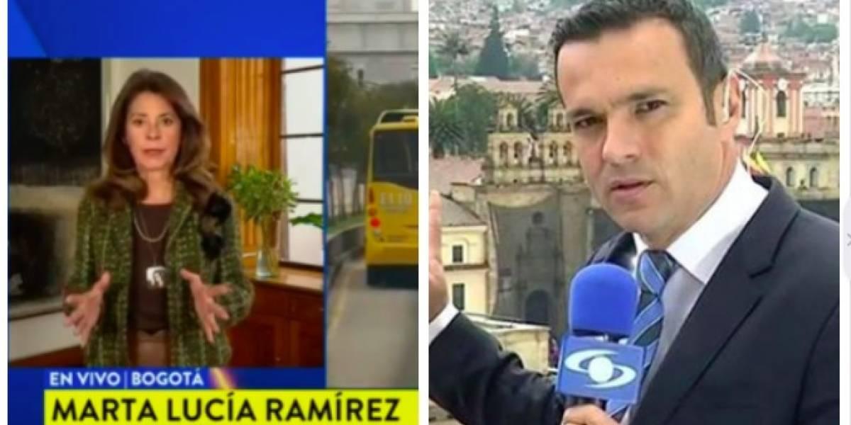 El gracioso error que protagonizaron Juan Diego Alvira y Marta Lucía Ramírez en 'Noticias Caracol'