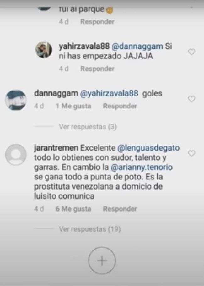 Comentarios en el Instagram de La Chule