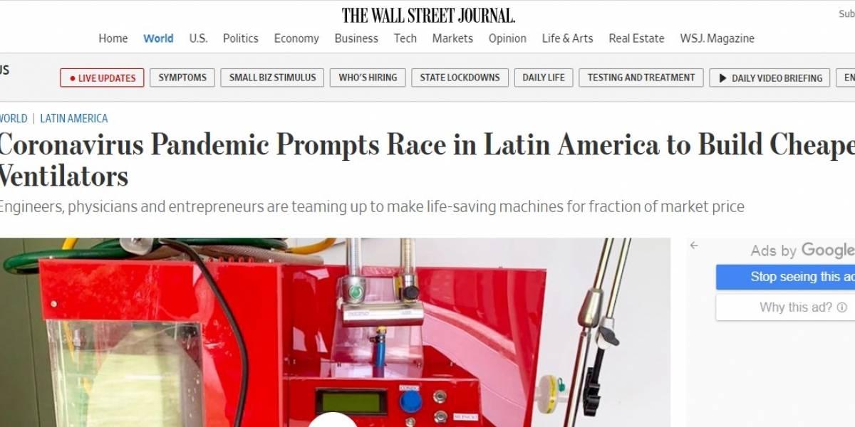 ¡Orgullo colombiano! Así destacó El Wall Street Journal a los ventiladores mecánicos creados por estudiantes