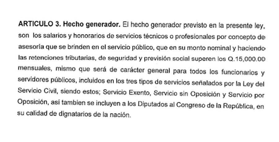 """Artículo 3 de la iniciativa """"Impuesto para la Emergencia del Covid-19"""""""