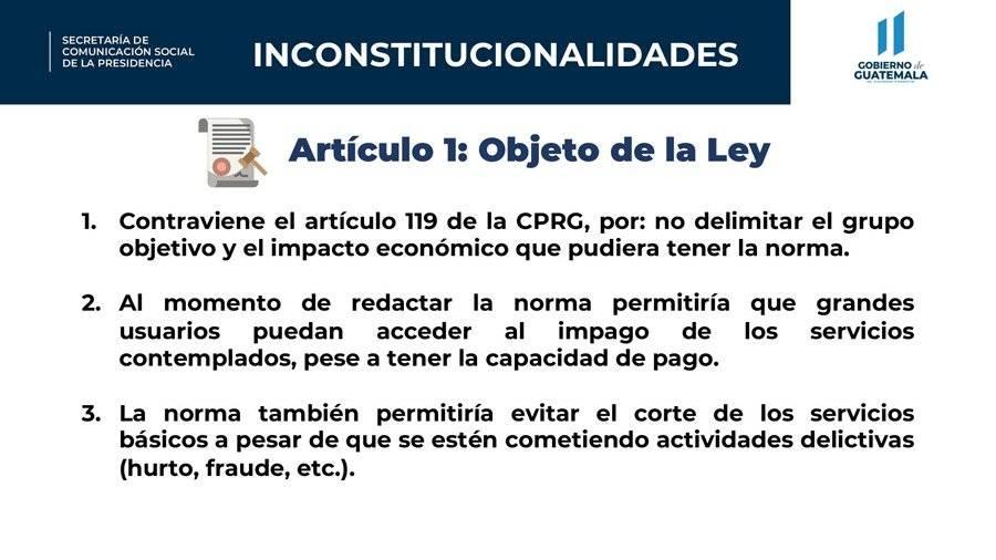 Inconstitucionalidades del artículo 1 del decreto 15-2020, según el Gobierno