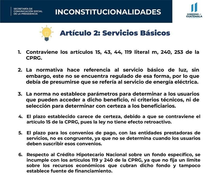 Inconstitucionalidades del artículo 2 del decreto 15-2020, según el Gobierno