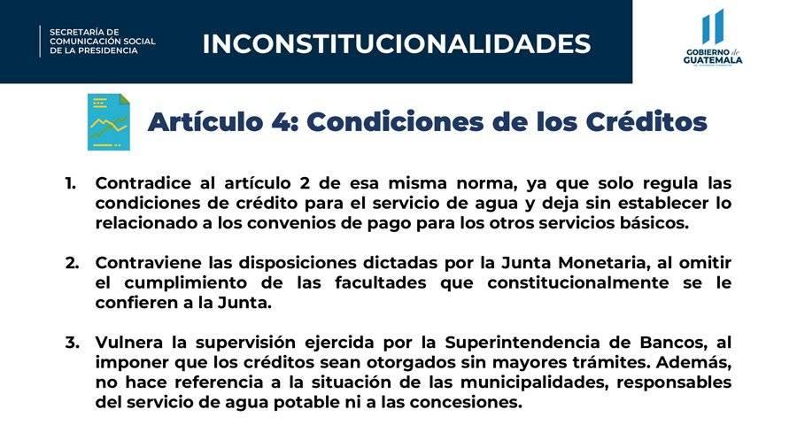Inconstitucionalidades del artículo 4 del decreto 15-2020, según el Gobierno