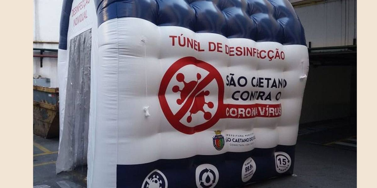 Túneis infláveis de desinfecção individual serão instalados em São Caetano