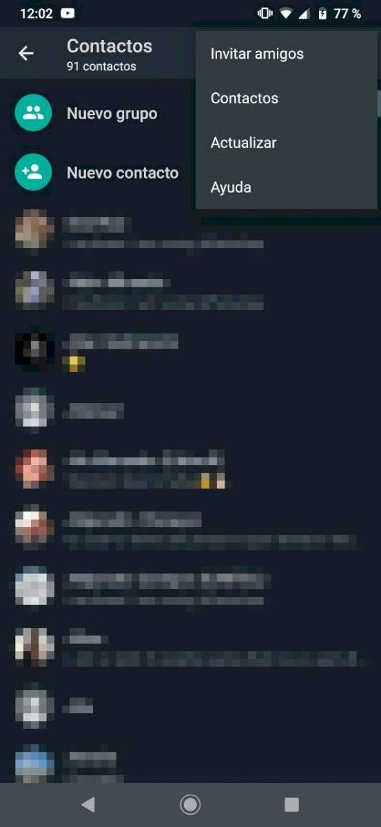 WhatsApp contactos ocultos