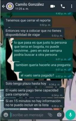 Conversación entre un colombiano varado y un representante del Consulado