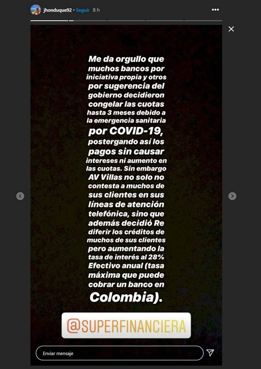 mensajes de Jhon Duque contra el banco AV Villas