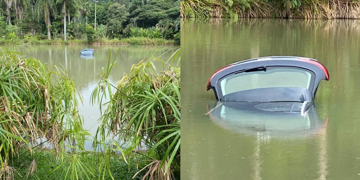 Hombre cayó a un lago en su vehículo y nadó rapidísimo para que no lo mordiera un caimán