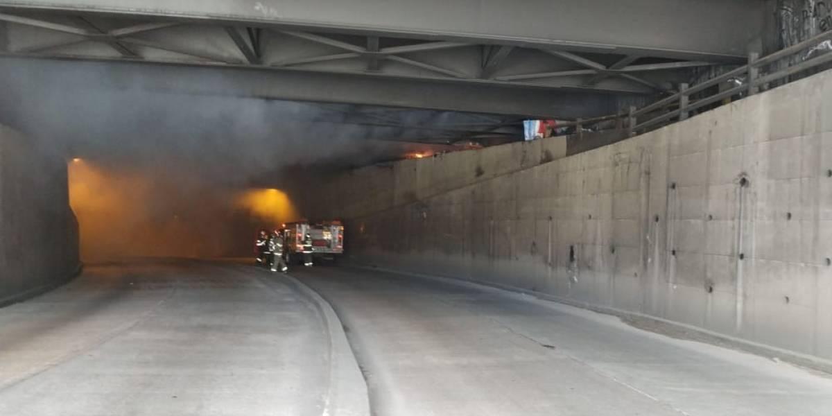 Incendio en el túnel de San Diego, centro de Quito