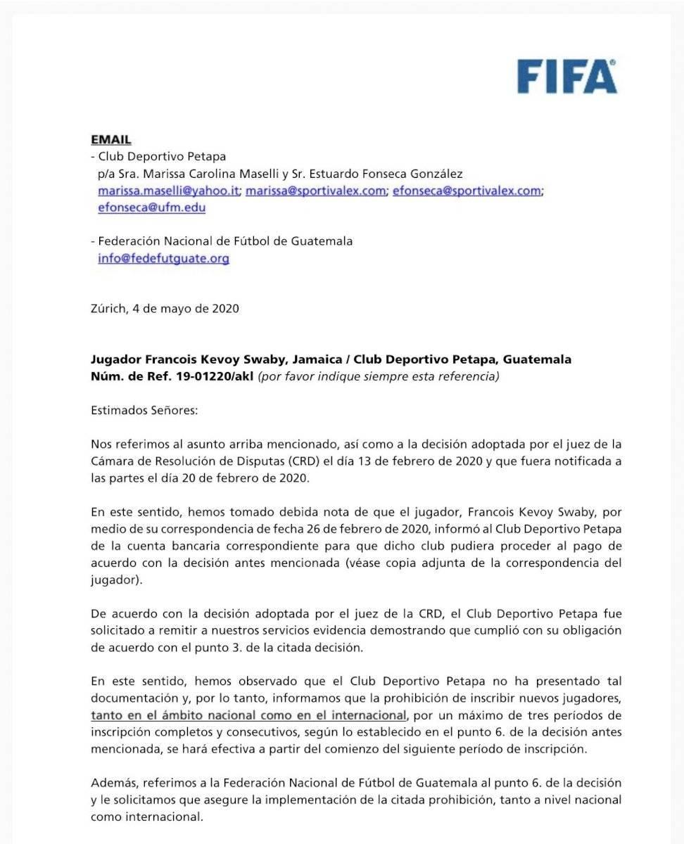 FIFA prohibe a Petapa inscribir jugadores por los próximos tres periodos