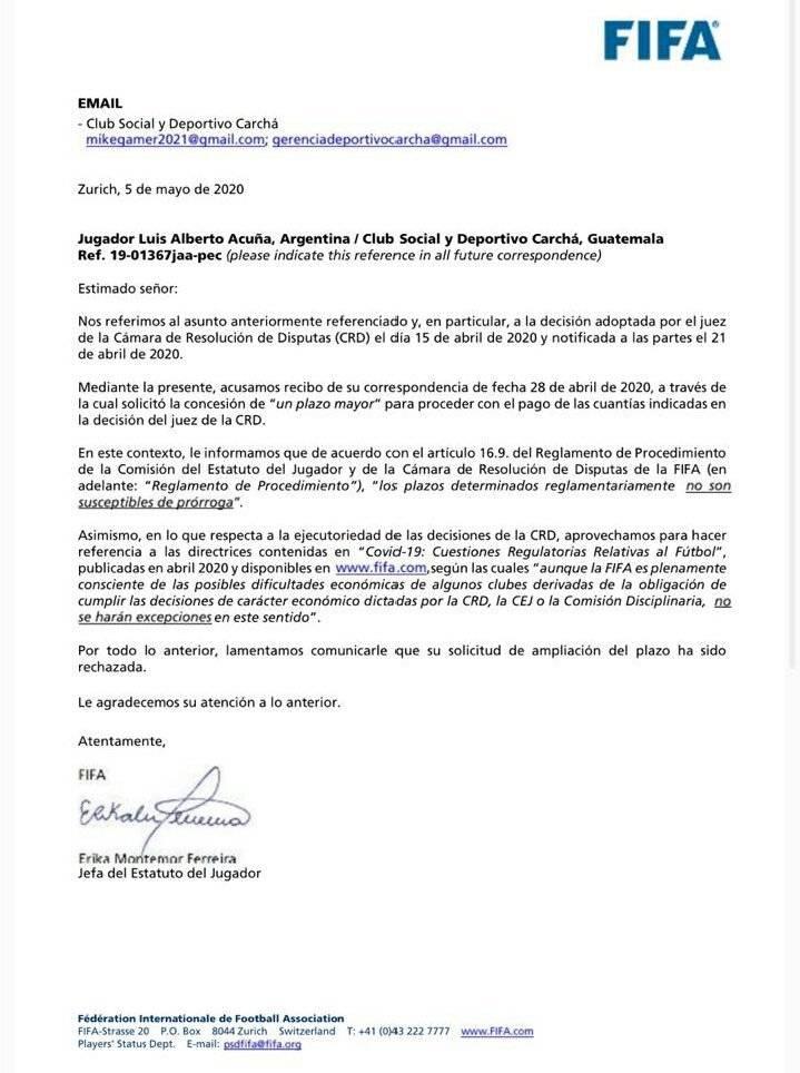 FIFA sanciona a Sanarete por deuda con Fabián Castillo