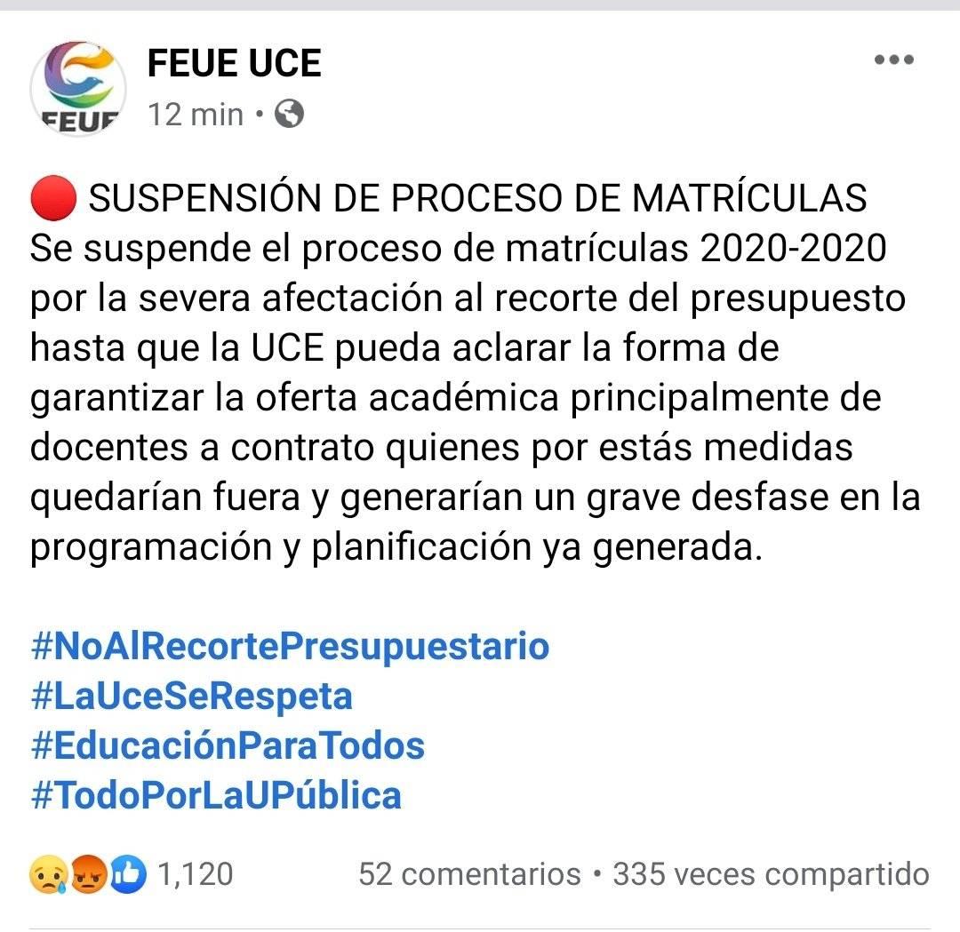 Se suspende el proceso de matrículas en la Universidad Central
