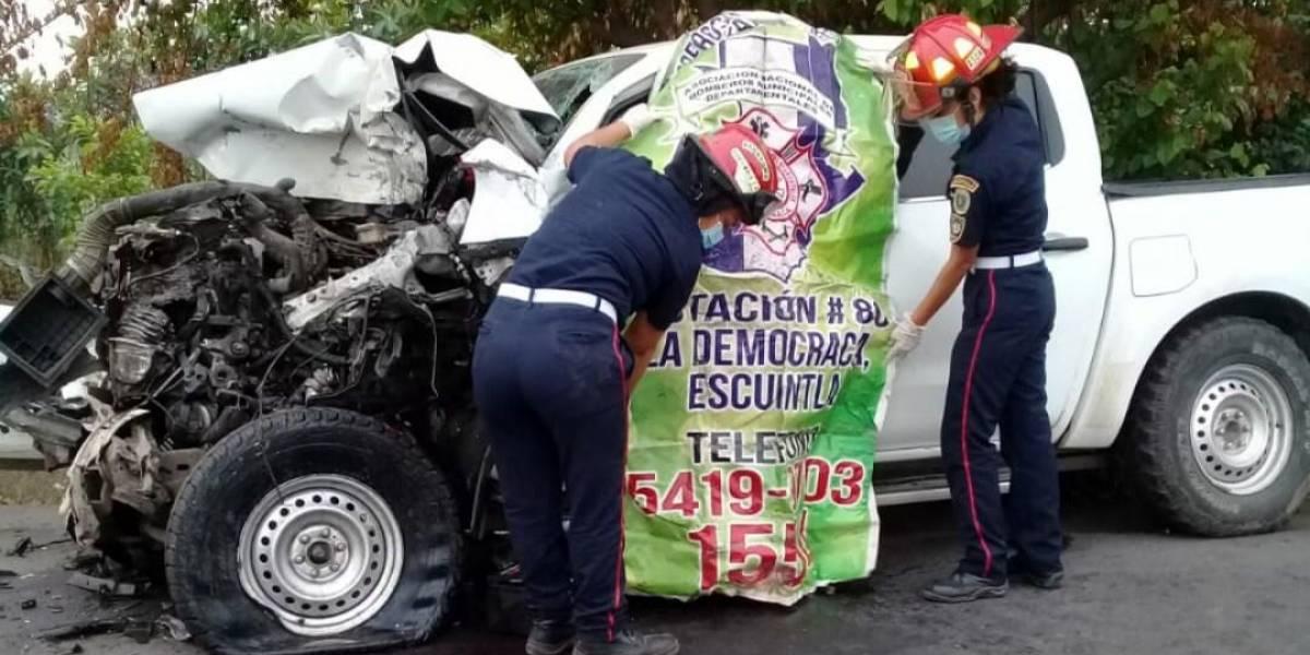 Conductor de picop muere tras choque en Escuintla