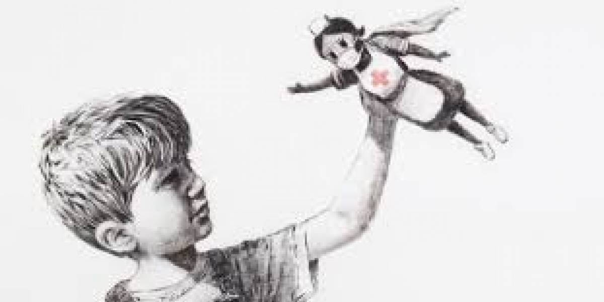 Nova obra de Banksy aparece em hospital para homenagear profissionais da saúde