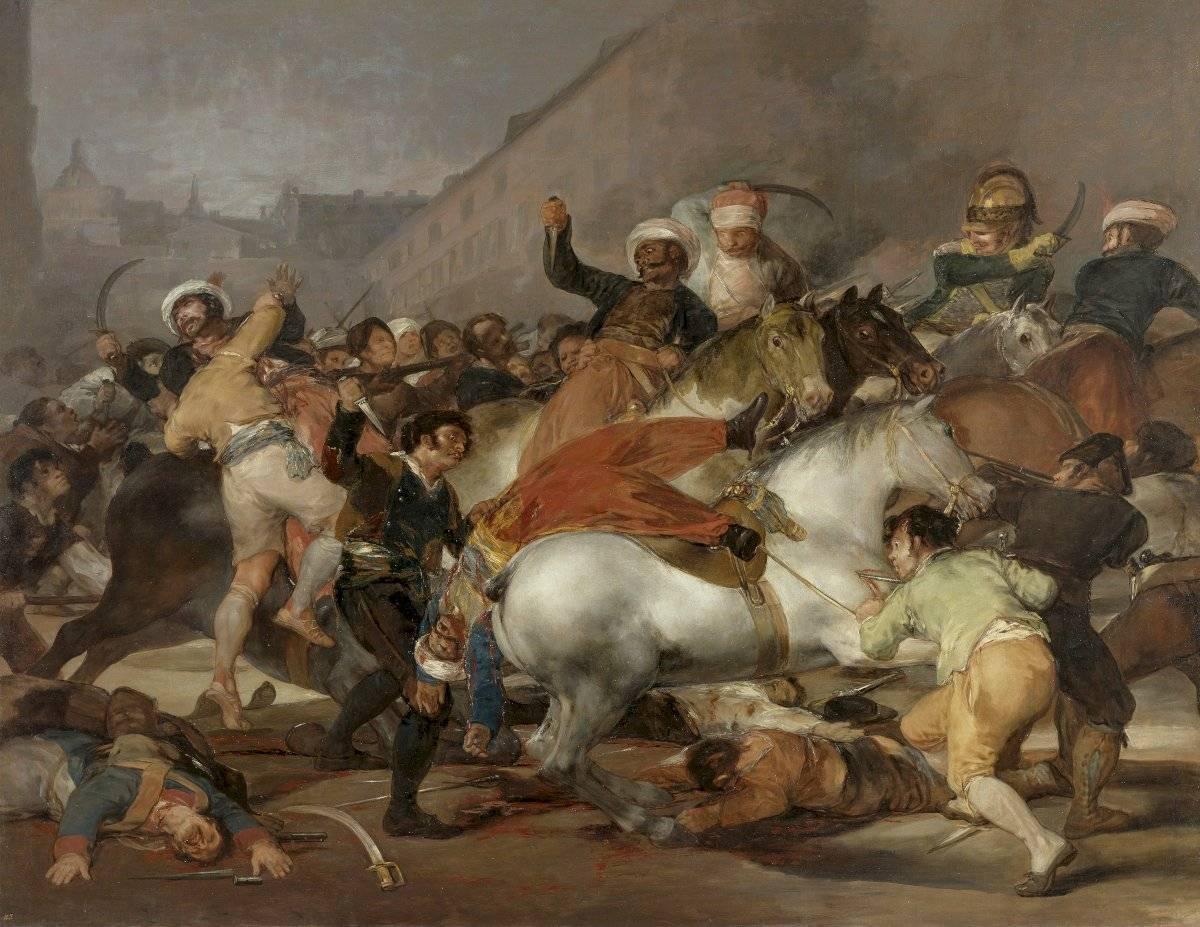Imagen del Museo de la Masacre de Ponce afectado por el temblor de mayo y la imagen del cuadro de Goya que recrea el levantamiento de Madrid contra las fuerzas napoleónicas. Ambas imágenes virales en distintos contextos.