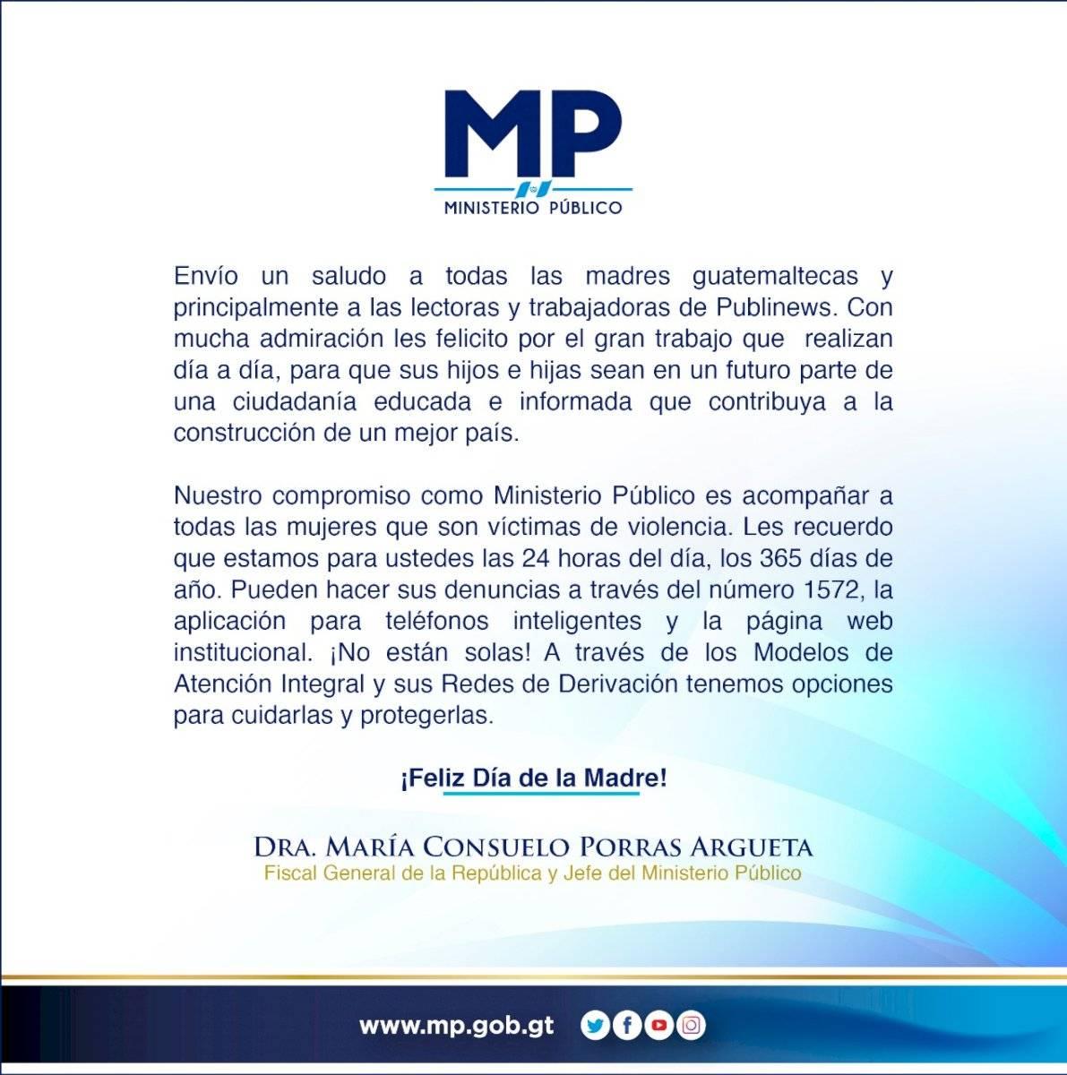 MP saludo Consuelo Porras