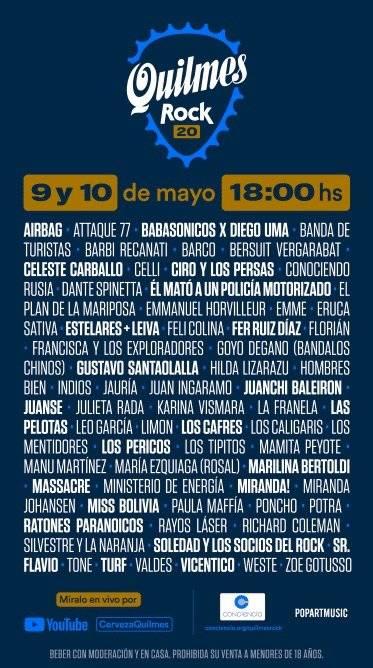 Quilmes Rock será este sábado 9 y domingo 10 de mayo