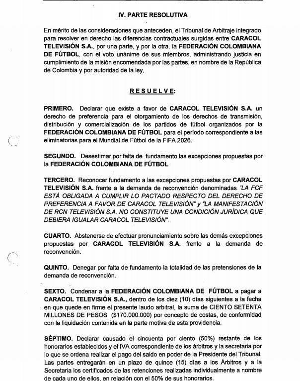 Resolución Tribunal Arbitramento Caracol-FCF