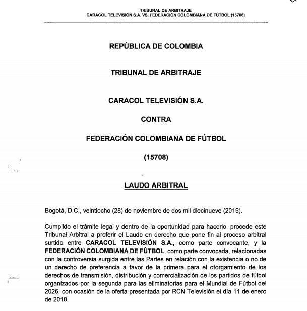 Presentación Tribunal Arbitramento Caracol-FCF