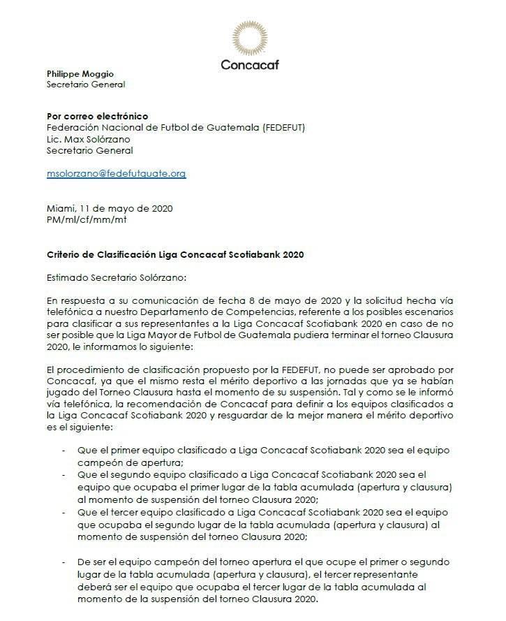 Concacaf sugiere que equipos deben clasificar a la Concacaf
