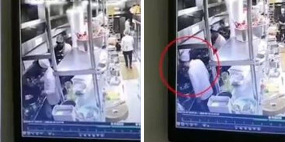 (VIDEO) Chef fue captado cocinando sin tapabocas y escupiendo la comida