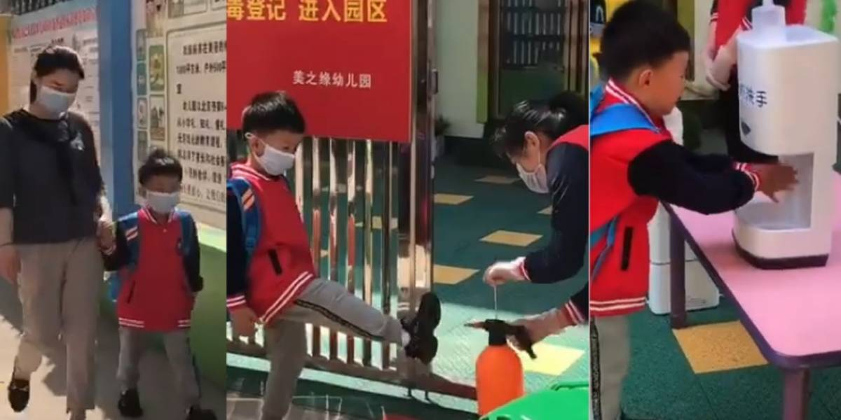 Estudantes chineses cumprem ritual de cinco etapas antes de entrarem nas escolas