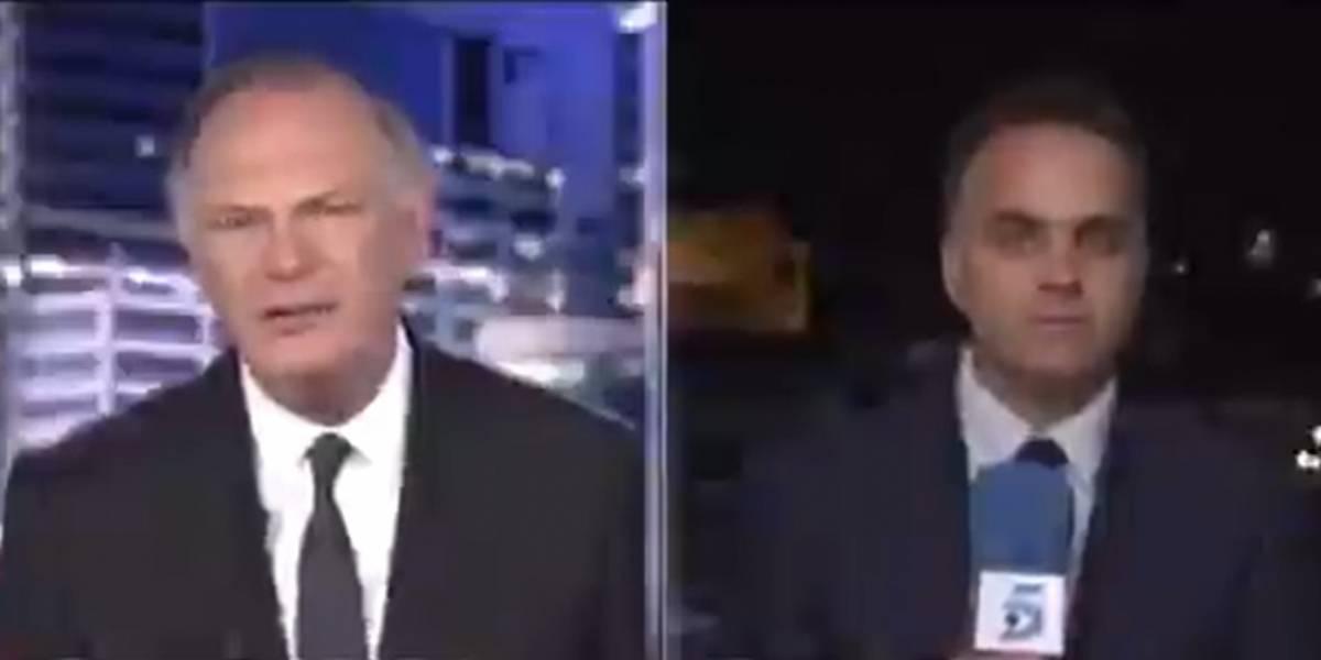 (Video) Extraño objeto aparece en el cielo en pleno set de noticias y se vuelve viral