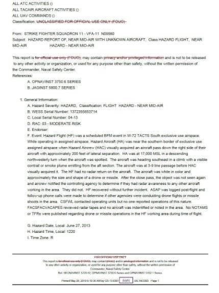Se desclasifica nuevos reportes sobre ovnis de la Marina de Estados Unidos