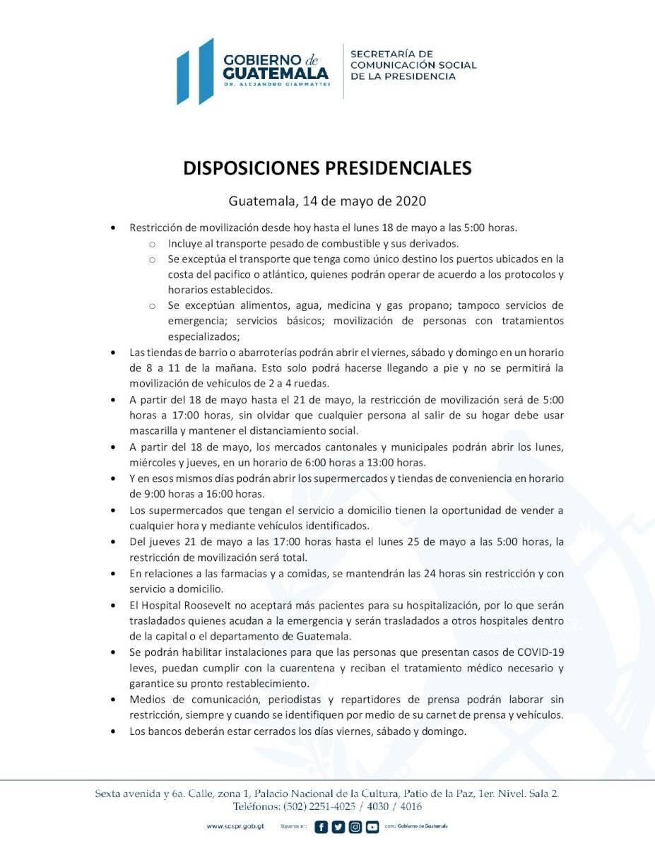 Disposiciones presidenciales para mayo de 2020
