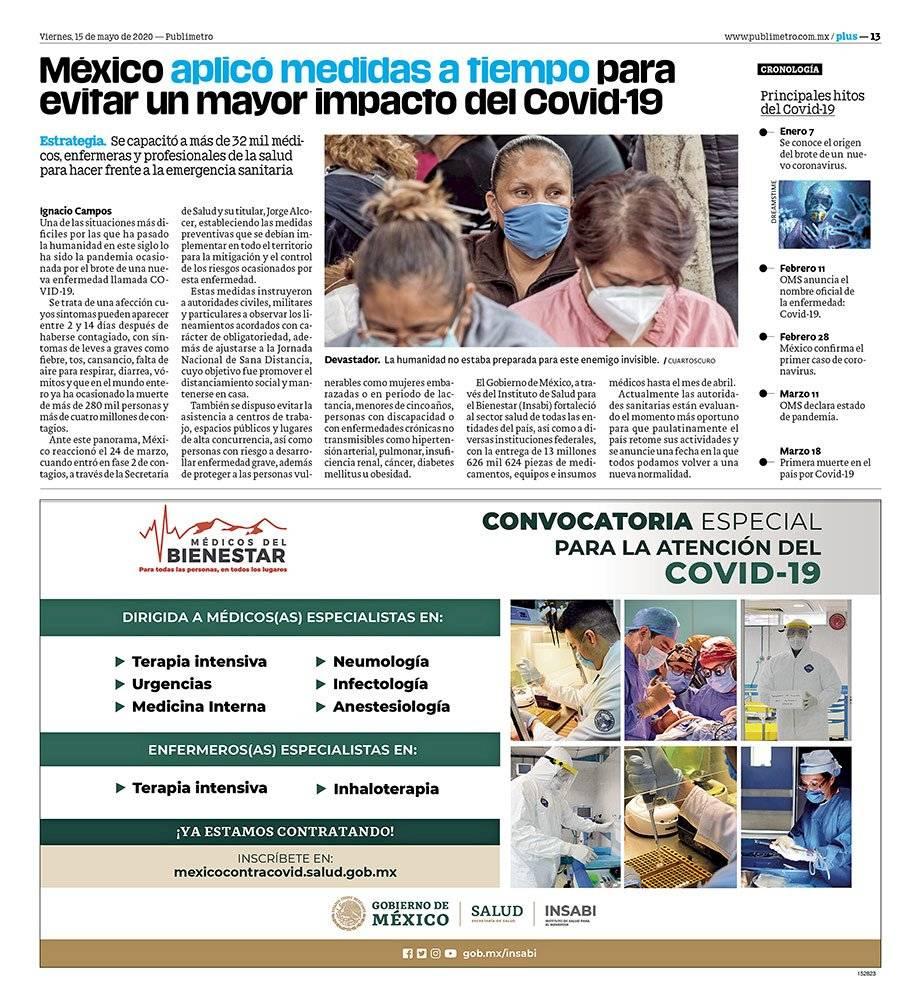 Anuncio Gobierno de México edición CDMX del 15 de mayo del 2020, Página 13