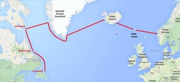 Mapa de los viajes vikingos a América