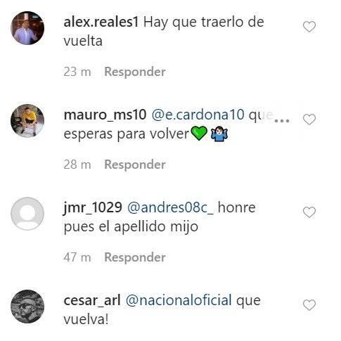 Nacional recordó goles de Edwin Cardona