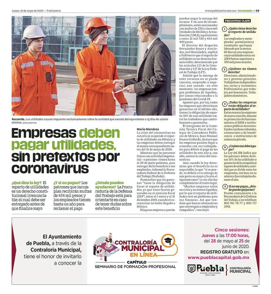 Anuncio Contraloría Municipal edición Puebla del 18 de mayo del 2020, Página 09