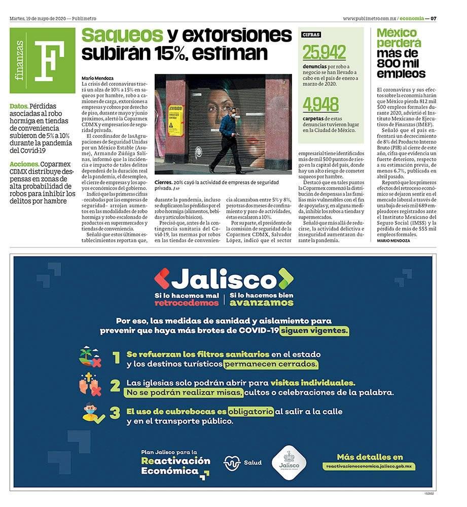 Anuncio Gobierno de Jalisco edición Guadalajara del 19 de mayo del 2020, Página 07