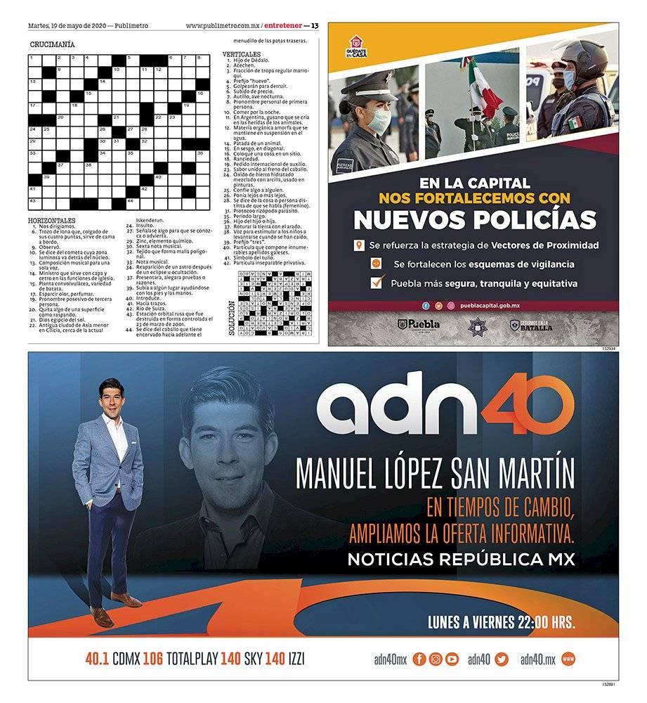 Anuncio ADN40 edición CDMX del 19 de mayo del 2020, Página 13