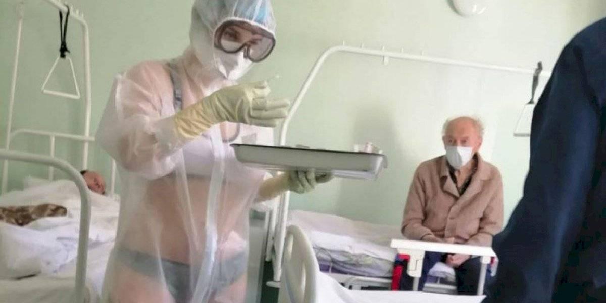Enfermera rusa que se volvió viral ahora es figura de una marca deportiva