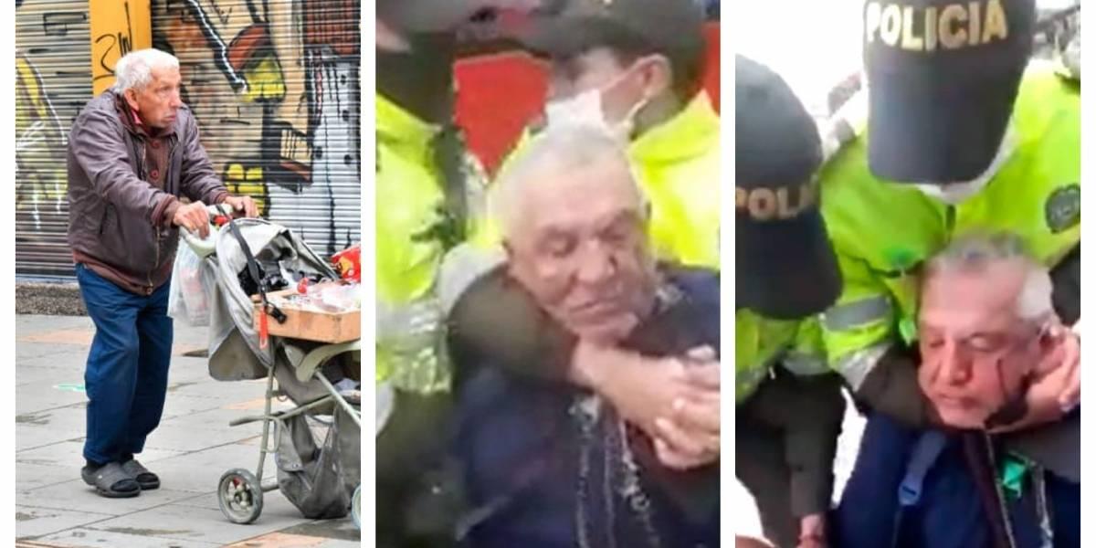 Anuncian acciones contra policías que agredieron adulto mayor en Bogotá