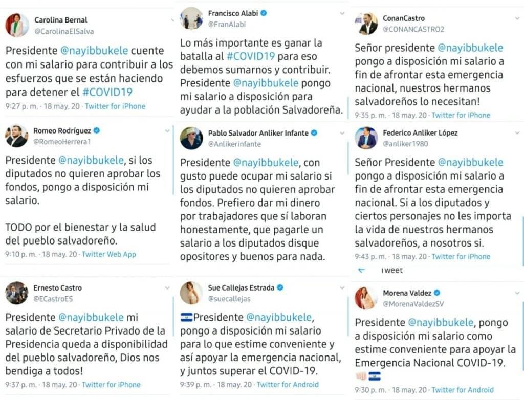 Diputados de El Salvador renunciando a sus salarios
