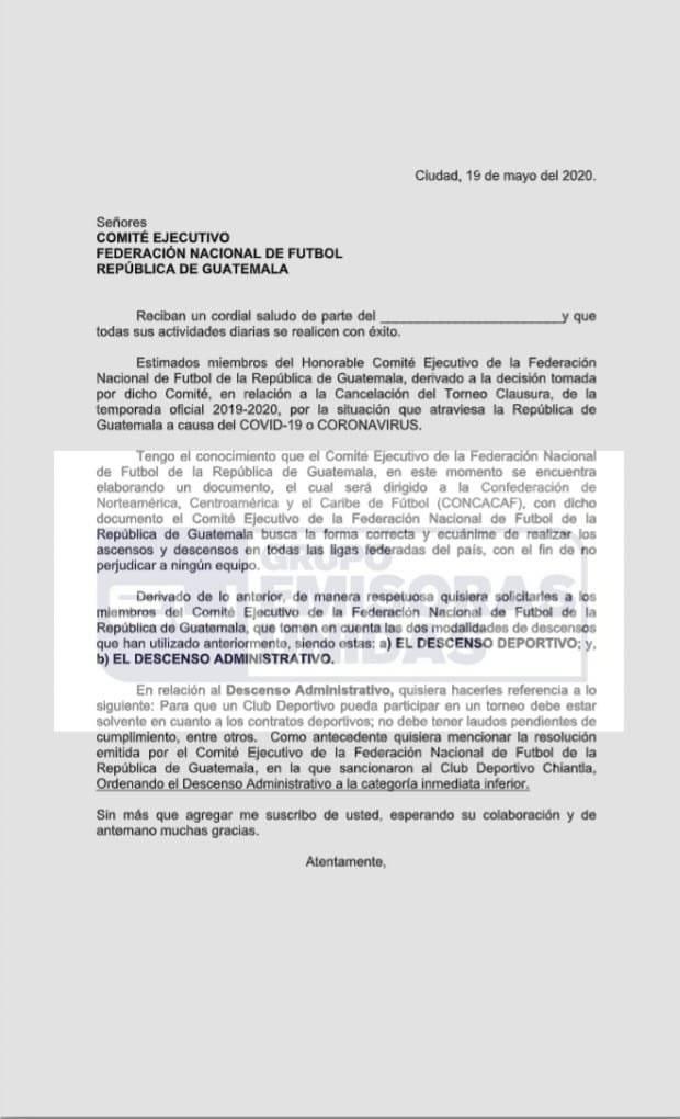 Carta de Mixco a Comité Ejecutivo de Fedefut, descenso Sanarate