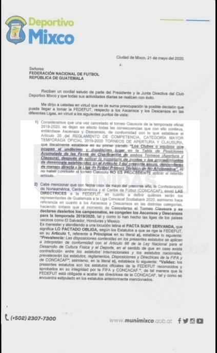 Carta de Mixco a la Fedefut sobre ascensos y descensos