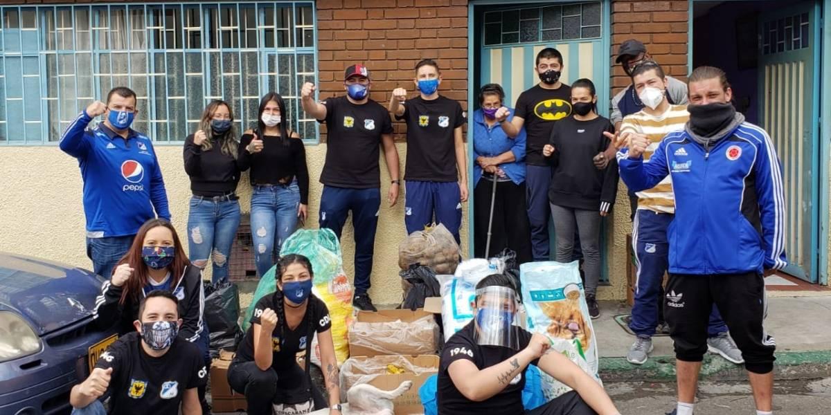 Hinchas de Millonarios llenan de esperanza a población vulnerable de Bogotá en la pandemia